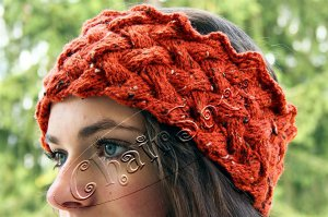 Stirnband Orange Flechtmuster superwarm