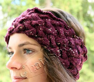 Stirnband Violet Flechtmuster superwarm
